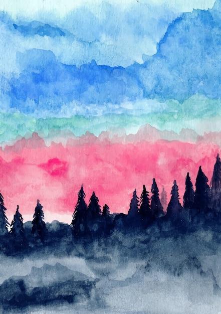 Pinheiros de montanha e céu azul com fundo aquarela Vetor Premium