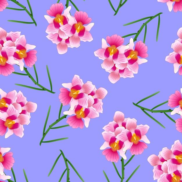Pink vanda miss joaquim orchid em fundo roxo. Vetor Premium