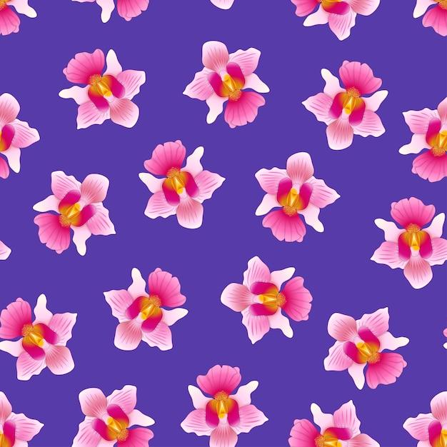 Pink vanda miss joaquim orchid em fundo violeta roxo Vetor Premium