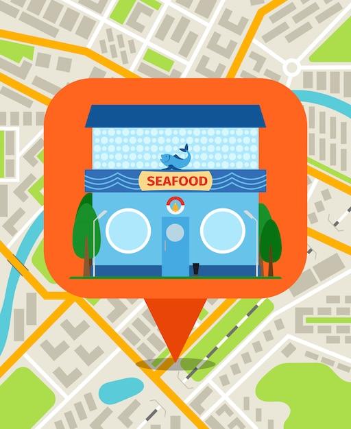 Pino da loja do marisco no mapa da cidade. sistema de navegação para ilustração vetorial de smartphone Vetor Premium
