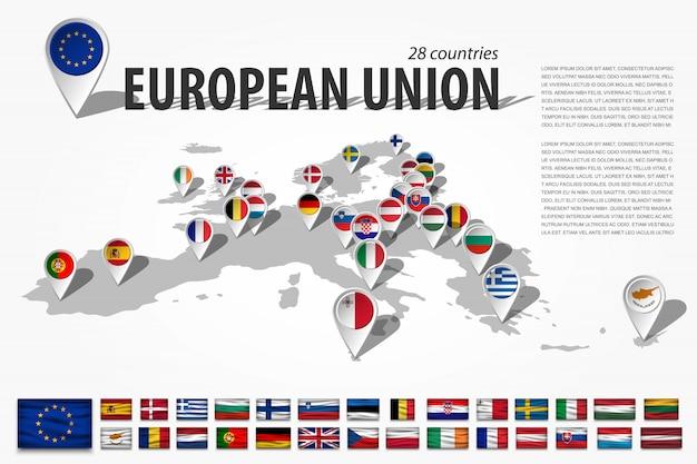 Pino de localização do navegador da união europeia e gps Vetor Premium