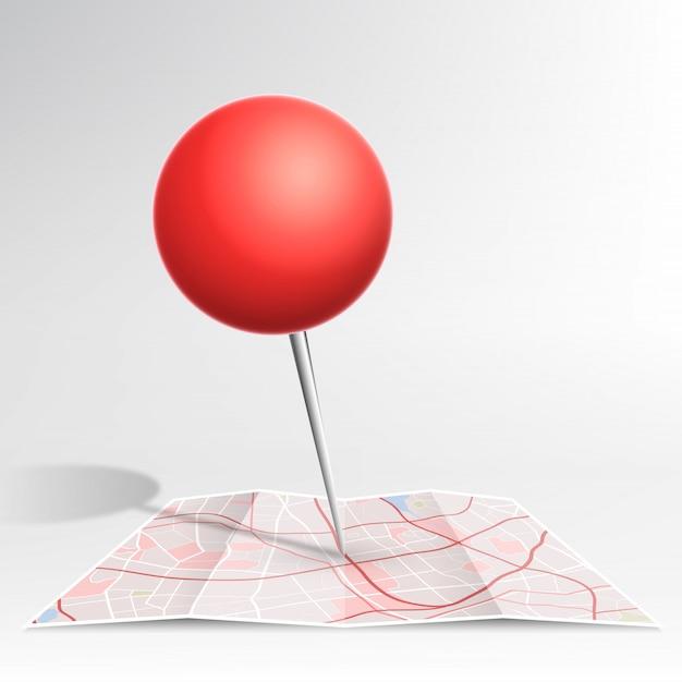 Pino de mapa cor vermelha caindo no mapa Vetor Premium