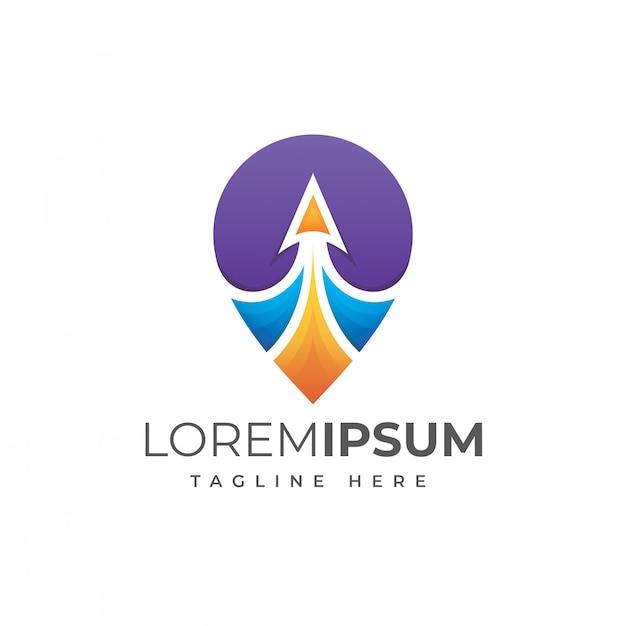 Pino de viagem colorida ilustração logotipo Vetor Premium