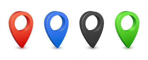 Pino mapa local localização ícones 3d. pinos de mapa de gps em cores. coloque sinais de localização e destino. ponteiros de pinos de navegação Vetor Premium