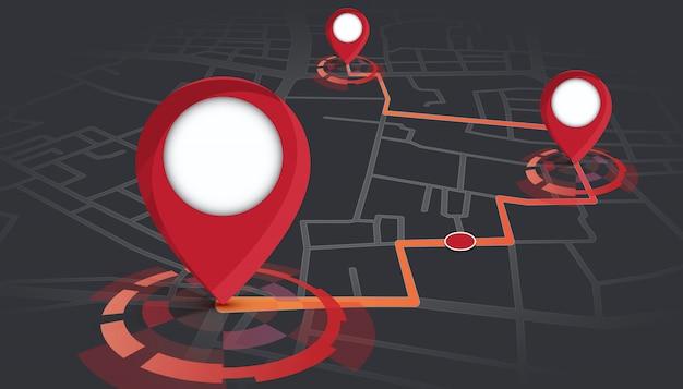 Pinos de gps mostrando no mapa de ruas com rastreamento de rota Vetor Premium