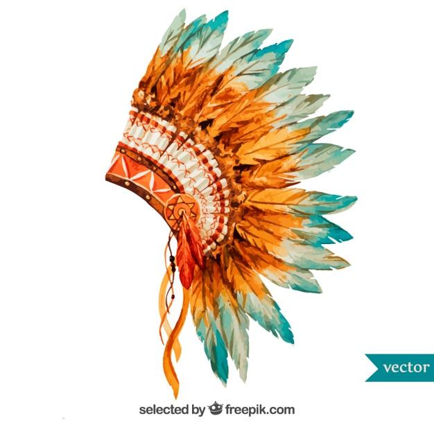 Pintados à mão cocar indígena Vetor grátis