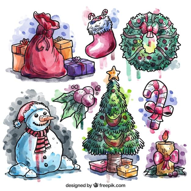 Pintados m o cole o elementos do natal baixar vetores for Dibujos de navidad pintados