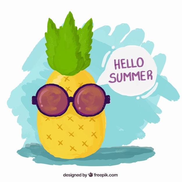 Pintados à mão de abacaxi fresco com óculos de sol Vetor grátis