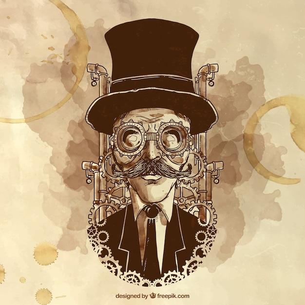 Pintados à mão homem ilustração steampunk Vetor Premium
