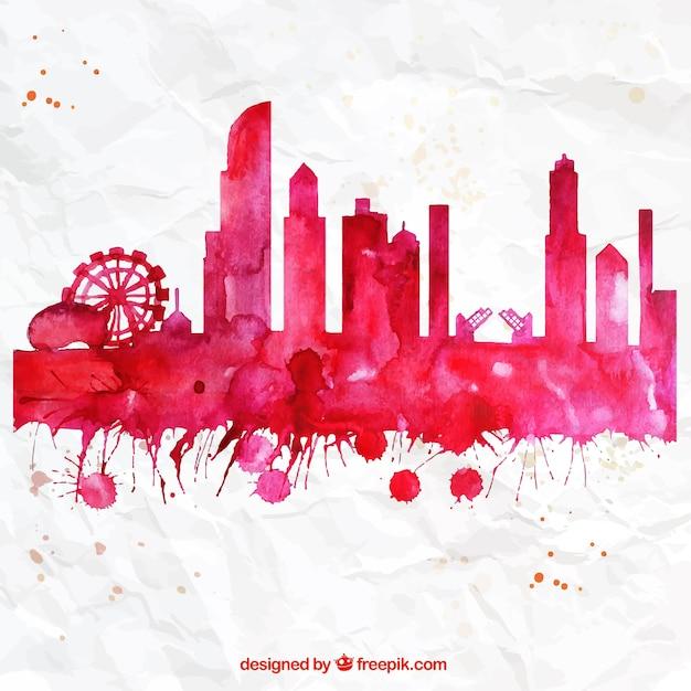Pintados à mão skyline chicago Vetor grátis