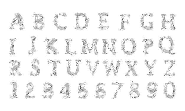 Pintados à mão vector flores letras abc no fundo branco Vetor Premium