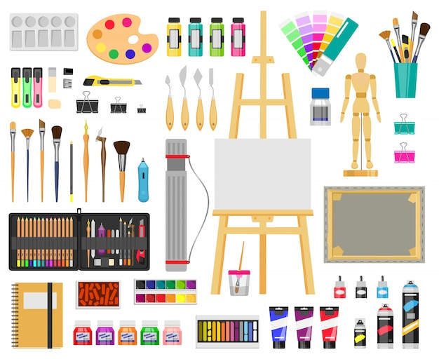 Pinte ferramentas de arte. suprimentos artísticos, materiais de pintura e desenho, pincéis, tintas, cavalete, conjunto de ícones de ilustração de ferramentas de arte criativa. pincel de desenho, ferramenta artística de educação Vetor Premium