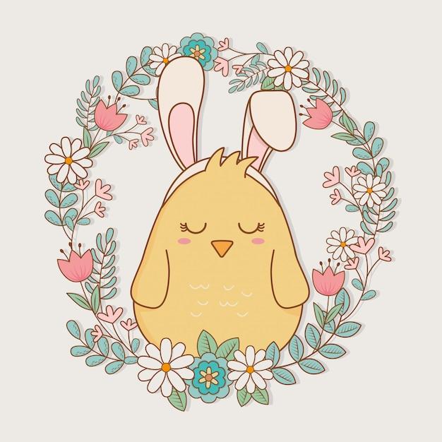 Pintinho com orelhas coelho personagem de páscoa Vetor Premium