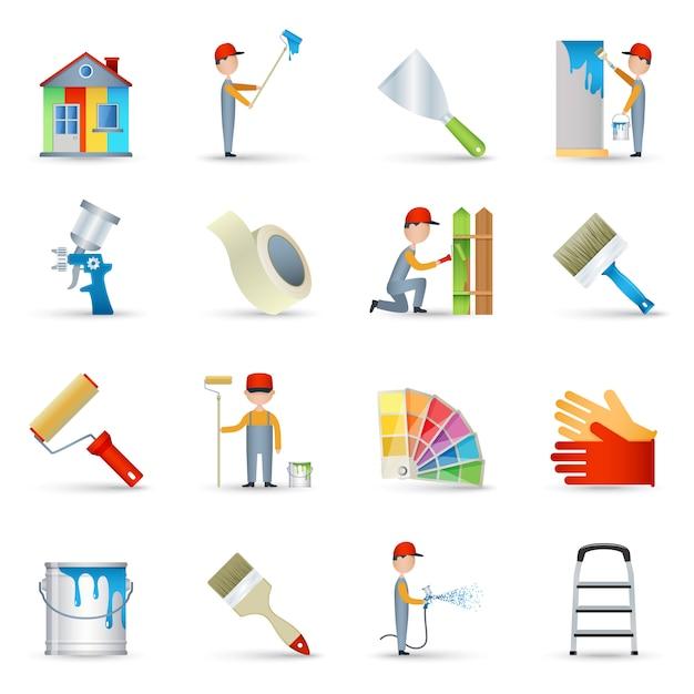 Pintor, ícones, apartamento, jogo Vetor grátis