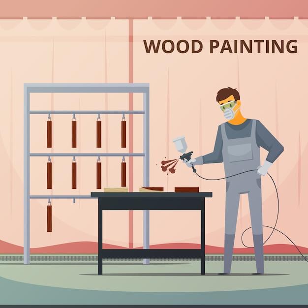 Pintor profissional da carpintaria que pulveriza a pintura acrílica sobre as peças da mobília de madeira Vetor grátis