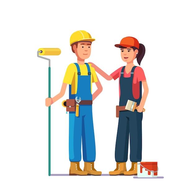 Pintores profissionais. trabalhadores artesanos Vetor grátis