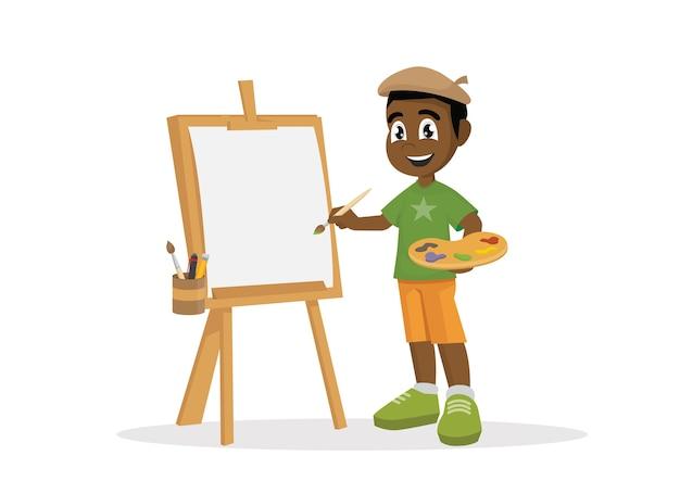 Pintura africana do menino do artista na lona. Vetor Premium