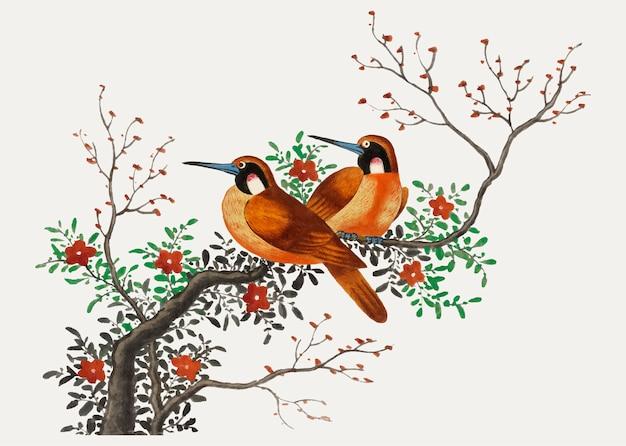 Pintura chinesa com dois pássaros Vetor grátis