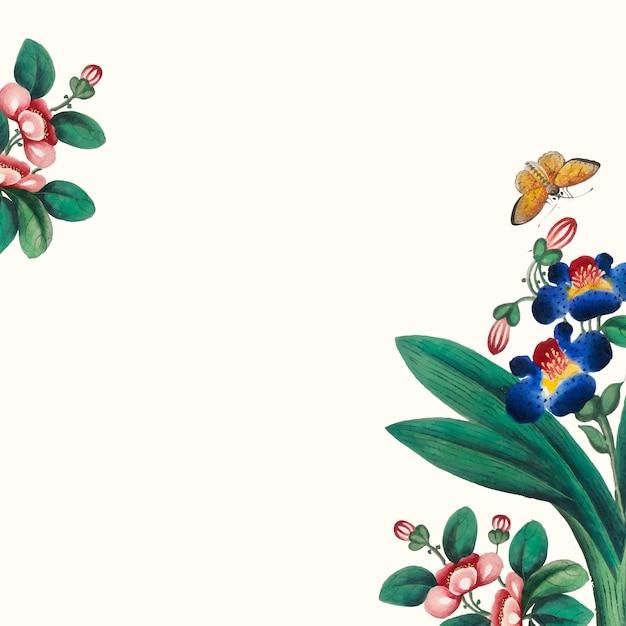 Pintura chinesa com flores e borboletas papel de parede Vetor grátis