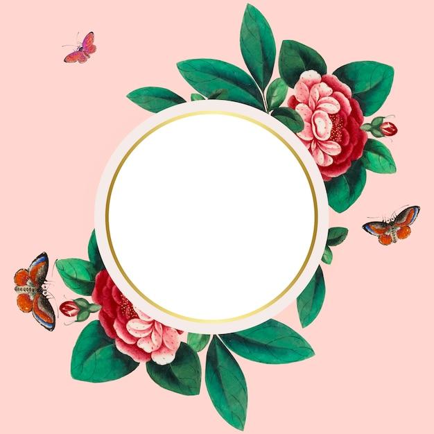 Pintura chinesa com vetor de quadro de círculo em branco de flores Vetor grátis