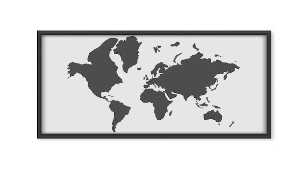 Pintura com um mapa-múndi isolado em um fundo branco. pintura com molduras pretas. esboço do mapa. . Vetor Premium
