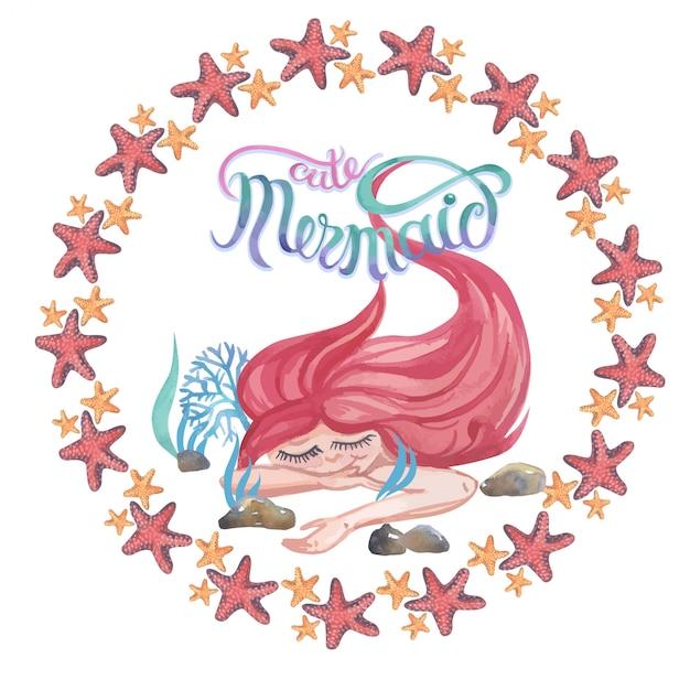 Pintura da aguarela com as estrelas e os corais de mar bonitos da sereia. quadro, armação. conjunto de ilustração Vetor Premium