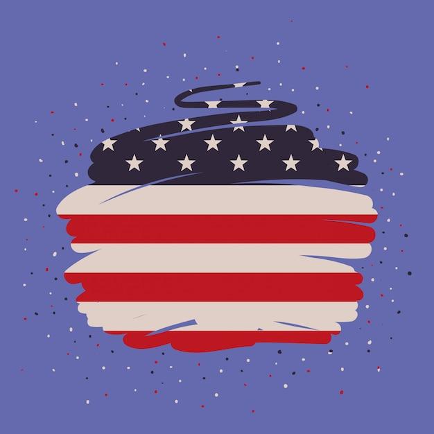 Pintura da bandeira de estados unidos da américa Vetor Premium