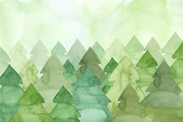 Pintura em aquarela com pinheiros Vetor grátis