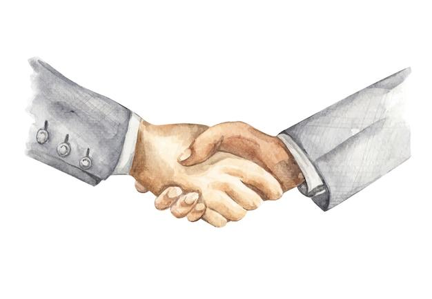 Pintura em aquarela de aperto de mão do empresário. conceito de parceria de negócios. Vetor Premium