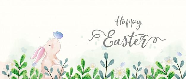 Pintura em aquarela de banner do dia de páscoa. os coelhos interagem com a borboleta no jardim. Vetor Premium