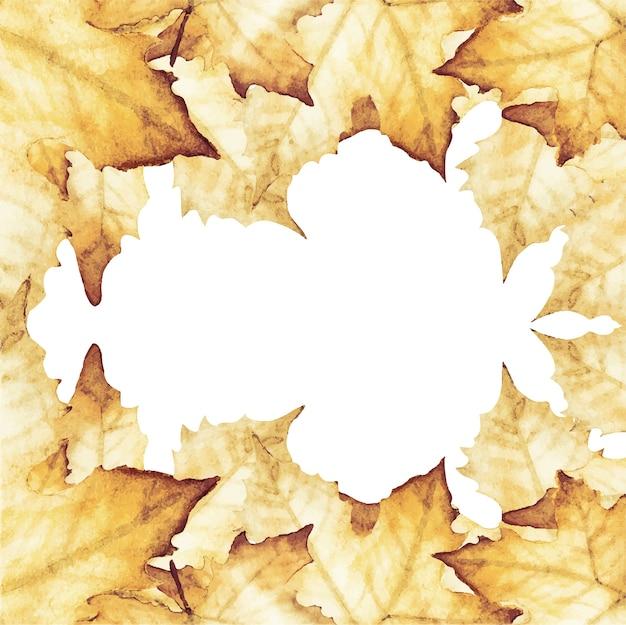 Pintura em aquarela de folhas de bordo com espaço de cópia Vetor Premium