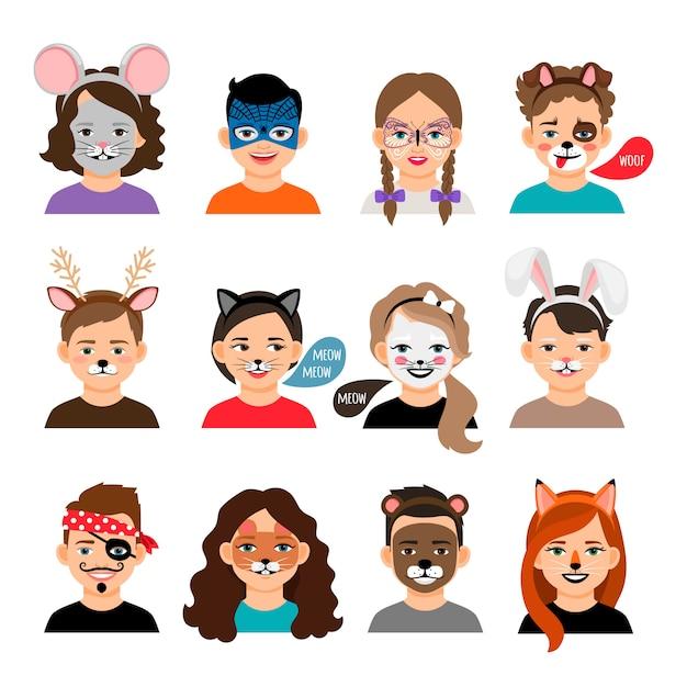 Pintura facial crianças Vetor Premium