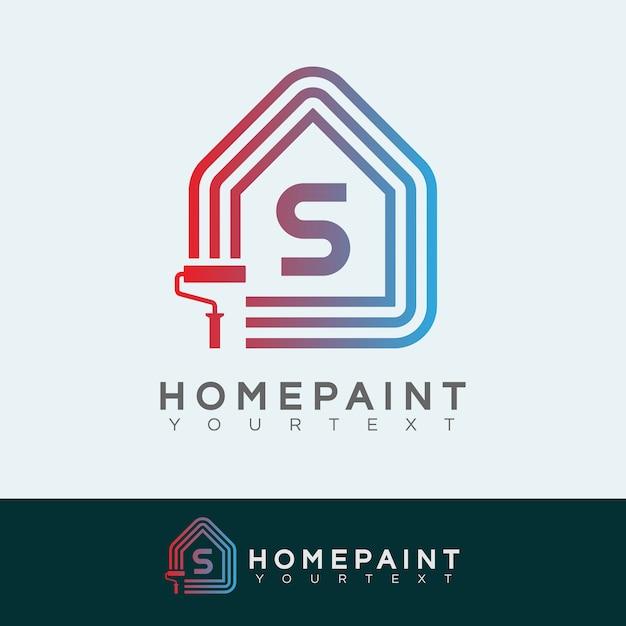 Pintura inicial pintura inicial logotipo da letra s Vetor Premium