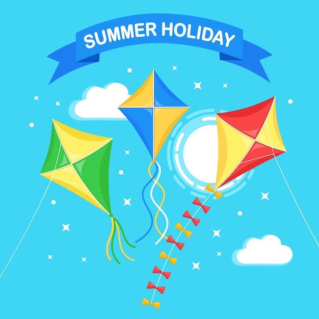 Pipa colorida voando no céu azul, sol isolado no fundo. verão, férias de primavera, brinquedo para criança. design plano Vetor Premium