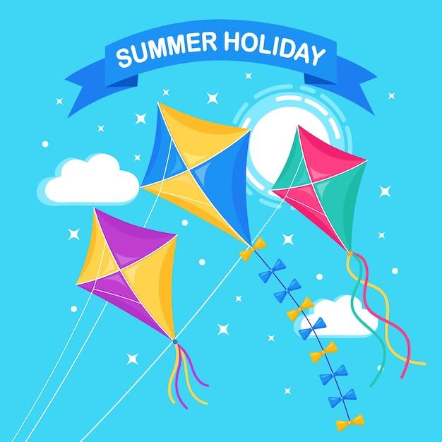 Pipa colorida voando no céu azul, sol no fundo. verão, férias de primavera, brinquedo para criança. Vetor Premium