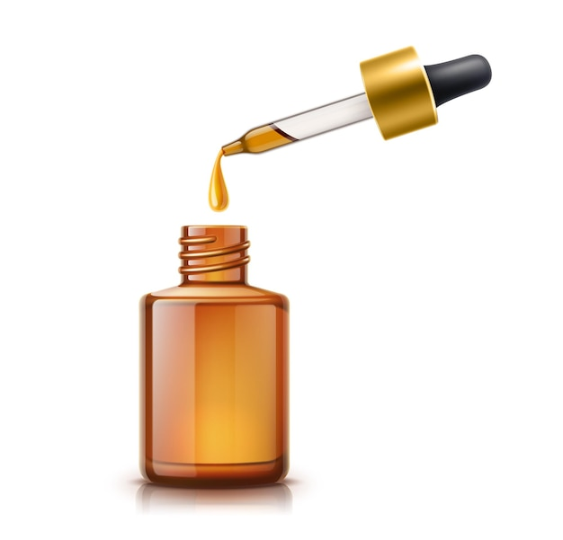 Pipeta de óleo realista com gota de óleo e garrafa em branco marrom. cuidados cosméticos com a pele, essência para cuidados com os cabelos, maquete de produto de medicina natural. produto de essência de eucalipto orgânico sem marca Vetor Premium