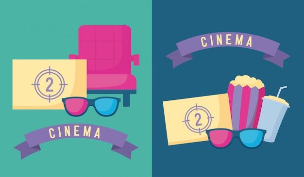 Pipoca com conjunto de cinema Vetor Premium