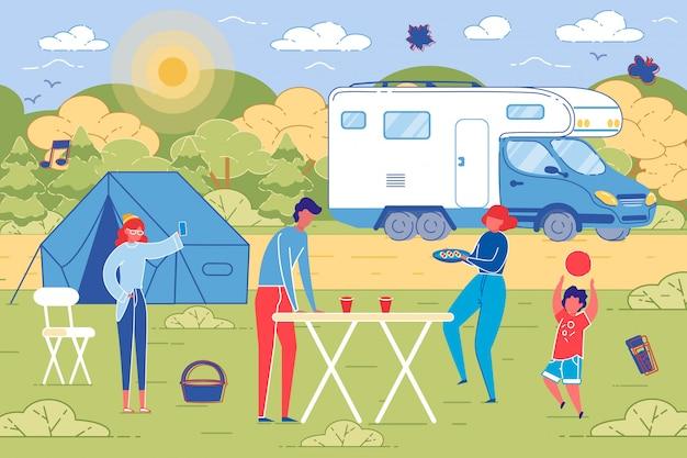 Piquenique em família ao ar livre no fundo do campo. Vetor Premium