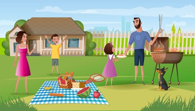 Piquenique em família no vetor de desenhos animados de jarda de casa de campo Vetor Premium
