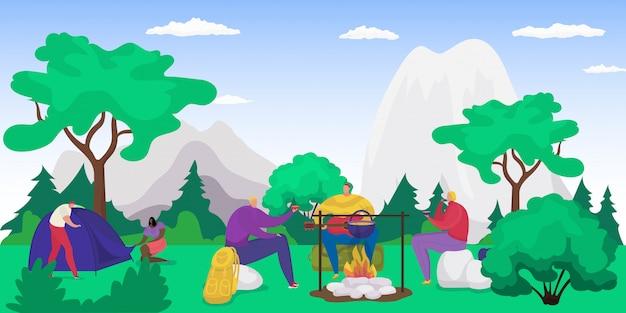 Piquenique na floresta com fogueira, pessoas comendo na natureza nas férias, turismo no verão, caminhadas com barraca na ilustração de montanhas. caminhadas e recreação de acampamento, piquenique de acampamento na floresta. Vetor Premium
