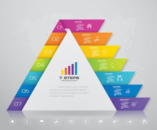 Pirâmide com espaço livre para texto em cada nível. Vetor Premium