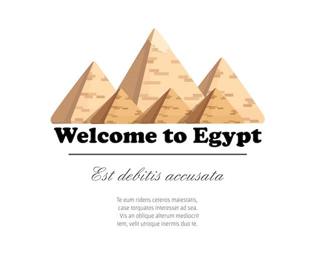 Pirâmide de gizé complexo de pirâmides egípcias maravilha diurna do mundo grande pirâmide de ilustração de gizé em fundo branco com lugar para seu texto Vetor Premium