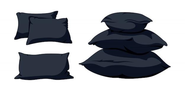 Pirâmide de travesseiro preto, conjunto de desenhos animados plana. modelo de almofada maquete de almofadas quadradas escuras macias para cama, sofá. pena, tecido ecológico de bambu Vetor Premium