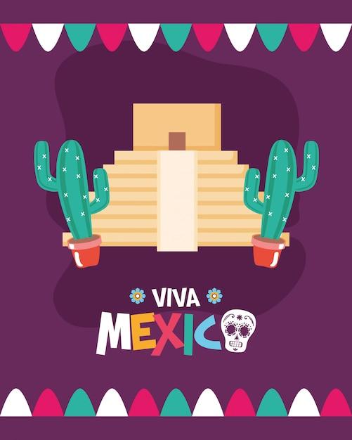 Pirâmide e cacto mexicano Vetor grátis