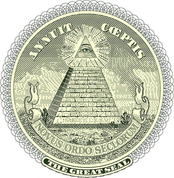 Pirâmide vectorized selo de uma nota de dólar Vetor Premium