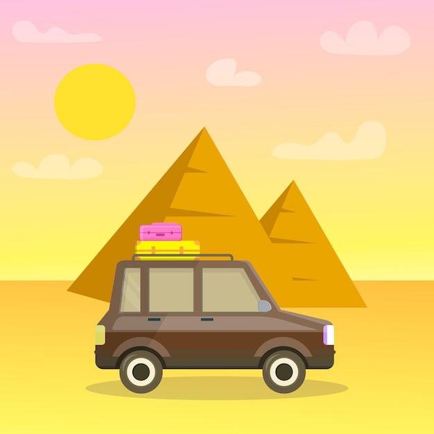 Pirâmides do cartão do curso dos desenhos animados de giza, cartaz. Vetor Premium