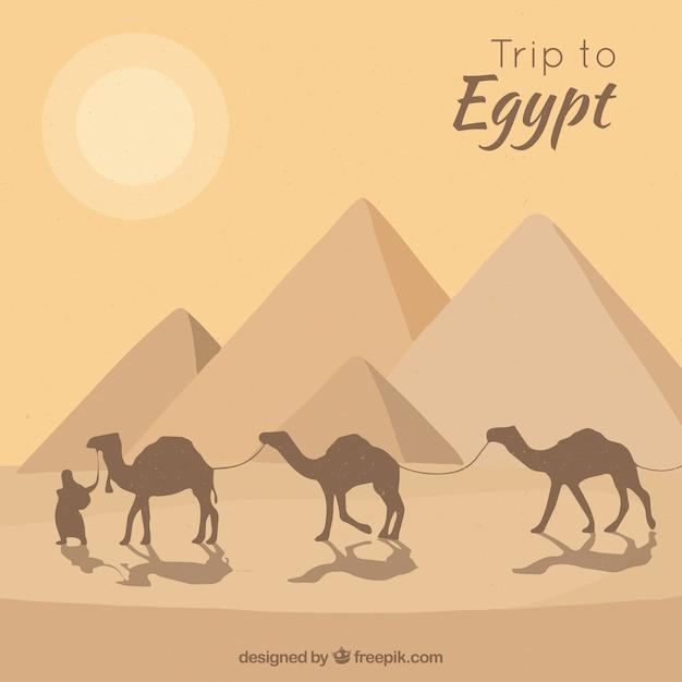 Pirâmides do egito plana paisagem com caravana de camelos Vetor grátis