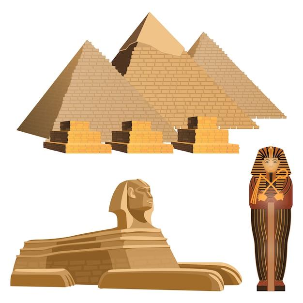Pirâmides egípcias, antiga esfinge e sarcófago do faraó. Vetor Premium