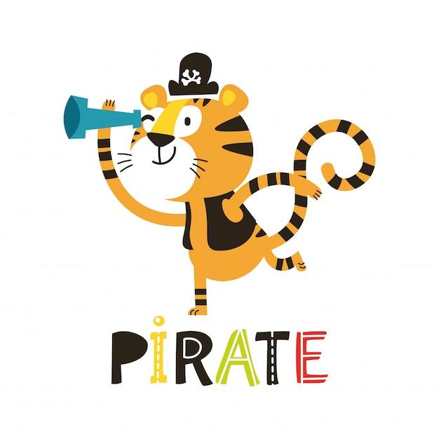 Pirata adorável tigre isolado no fundo branco Vetor Premium