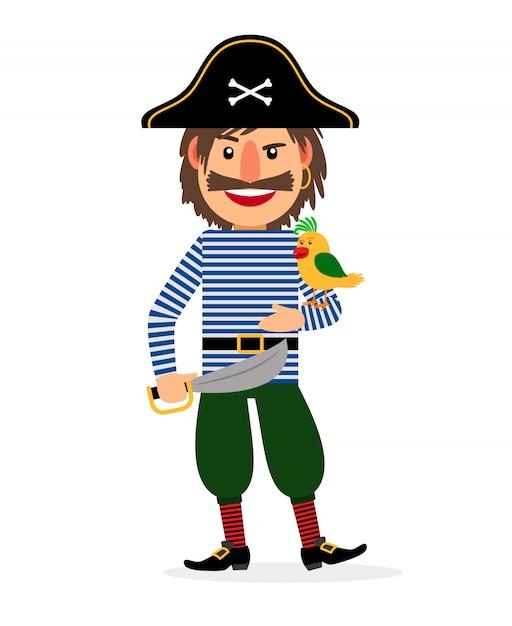 Pirata com espada e papagaio Vetor Premium